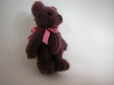 "World of Miniature Bears 1.25"" Plush Bear #113 Wine Colletible Miniature Bear"