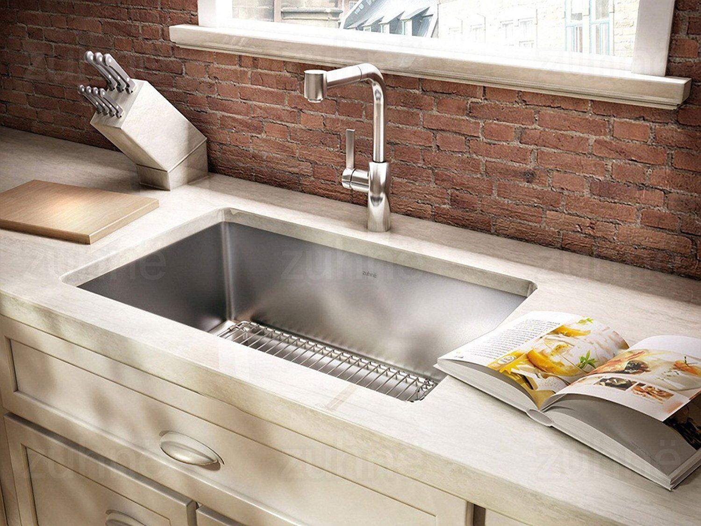 Zuhne Modena Series Single Bowl 16 Gauge Stainless Steel Undermount Kitchen Sink