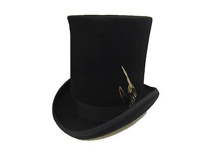 Express Hats Stove Pipe Lincoln Victorian Steam Punk Wool Felt Tall Top Hat  ()