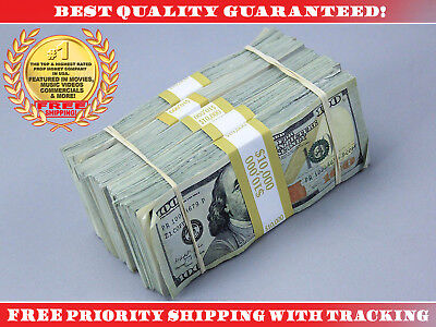 PROP MOVIE MONEY $50,000 Blue Style AGED Filler Pack Play Fake Prop Money