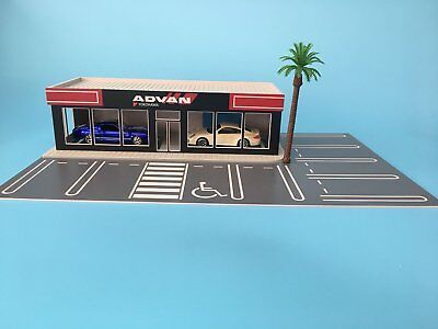 Parking lot Model 1:64 Scale ADVAN 4S Shop Building Model w/10 Parking Space