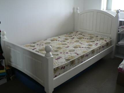 White King Single Bed, Inner Spring Mattress and Sheets