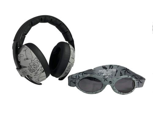 Baby Banz Earmuffs Infant & Toddler Hearing Protection Headphones and sunglasses