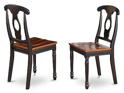 2 Black Dining Chairs - Set of 2 dinette kitchen dining chairs with wood seat in black & cherry brown