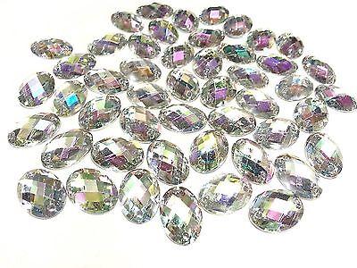 Sew on Acrylic Oval Diamante Crystal Gems Rhinestone Bling AB 50 x 13*18mm