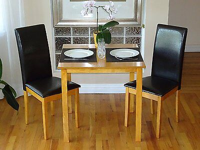 3 Pc Dining Room Kitchen Set Square Table and 2 Fallabella Chairs Maple