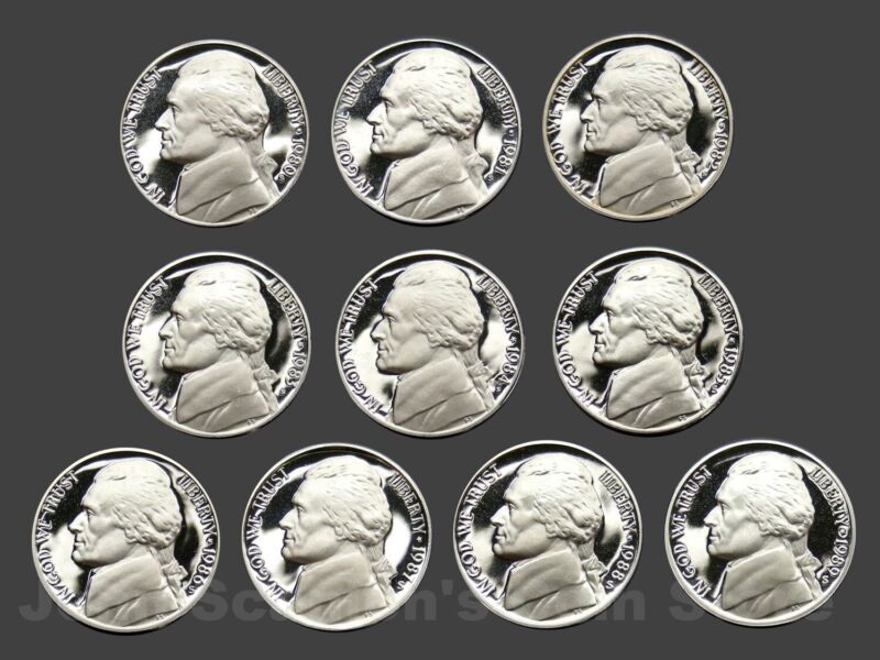 Decade Set of Proof Jefferson Nickels 1980-1989 (10 Coin Lot)