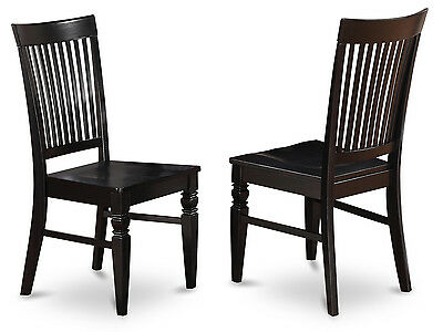 Set of 4 Weston dinette kitchen dining chairs w/ plain wood seat in black