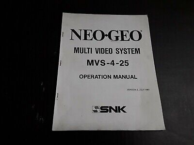 Neo-Geo by SNK Multi Video System MVS-4-25 Operation Manual