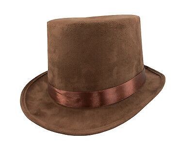 """Steampunk Brown Faux Suede Willy Wonka 6"""" Top Hat Adult Men's Costume Accessory"""