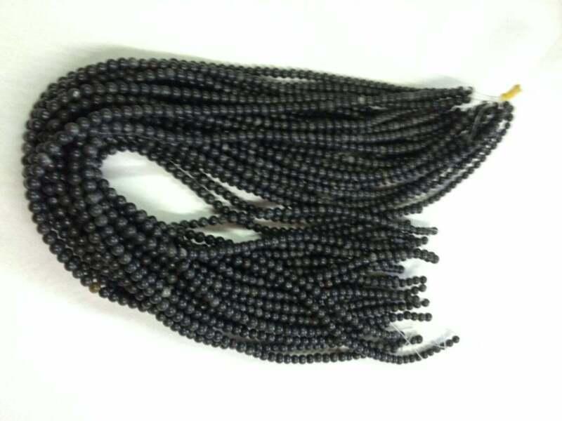 GENUINE Kilkenny black MARBLE 6mm Round drilled thru beads  X 65