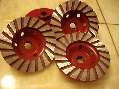 4 Inch 7 Pieces Diamond Turbo Row Cup Wheel Grinding Granite Concrete Sanding