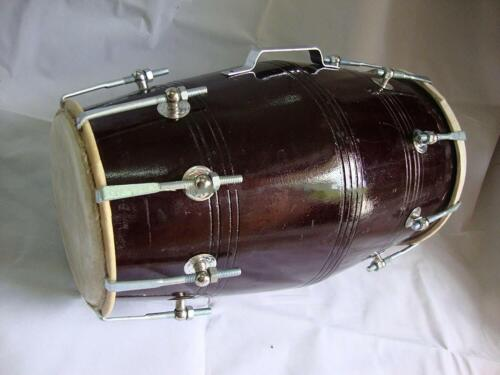 Dholak Drum, Professional, Sheesham Wood, Bolt-tuned, Padded Bag, Dholki
