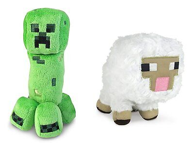 Minecraft Animal Plush Set of 2 Baby Sheep Creeper Licensed Jazware Christmas