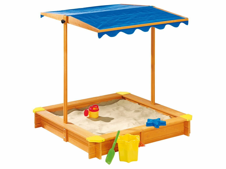 Playtive Junior Sandkasten mit Dach Fichtenholz Holz Sandkiste Sandbox NEU & OVP
