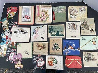 Vintage Valentine/Christmas Cards, Used, lot #801