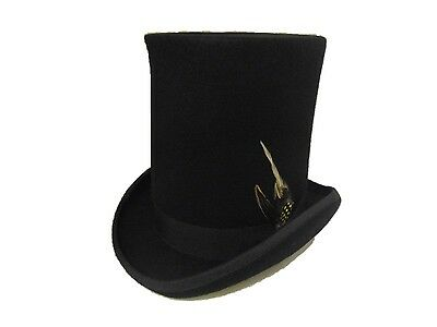 Quality Black Wool Felt Stove Pipe. Lincoln, Victorian style top hat. ()