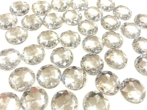 CraftbuddyUS 40pc 20mm Clear Round Sew On Stitch On Diamnte Crystal Rhinestones