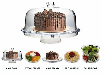 Homeries Multi-Purpose 6 in 1 Cake Stand with Dome Lid - Multifunctional...