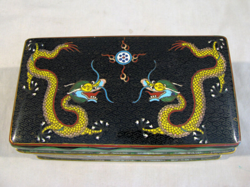 Antique CHINESE CLOISONNE JEWELRY BOX HUMIDOR - YELLOW DRAGONS