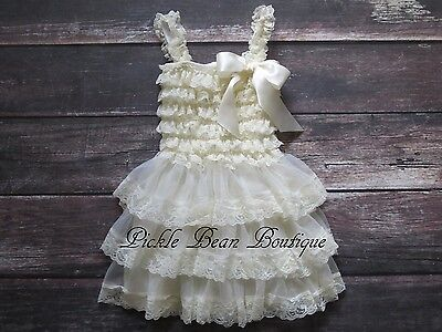 Girls Ivory Lace Dress - Country Flower Girl Dress - Rustic Baby Wedding - Country Girl Dress