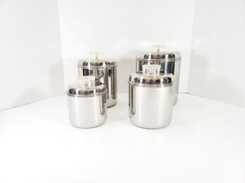 Vintage Revere Ware Canisters Set Stainless Steel 4 Piece Tel-U-Top Lids