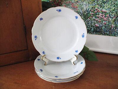 German Kahla Cornflower Blue Salad Plates ~ Four ~ circa 1970's