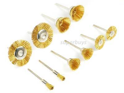Coarse Wire Wheel (10pcs Brass Steel Wire Brush Wheel Flat Cone Cup Polishing Descaling Cleaning)