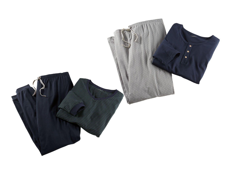 Herren 2 teilig Schlafanzug Set Pyjama Shirt Hose Hausanzug Langarm Nachtwäsche