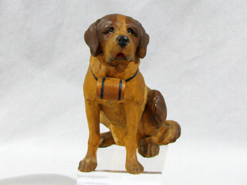 """Antique HAND CARVED WOOD FIGURE OF ST. BERNARD DOG - 6"""" - ITALY/GERMANY"""