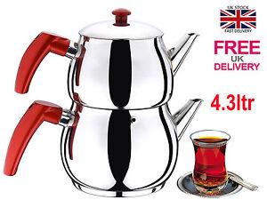 Traditional Turkish Tea Pot Stainless Steel Caydanlik Medium Free UK Post