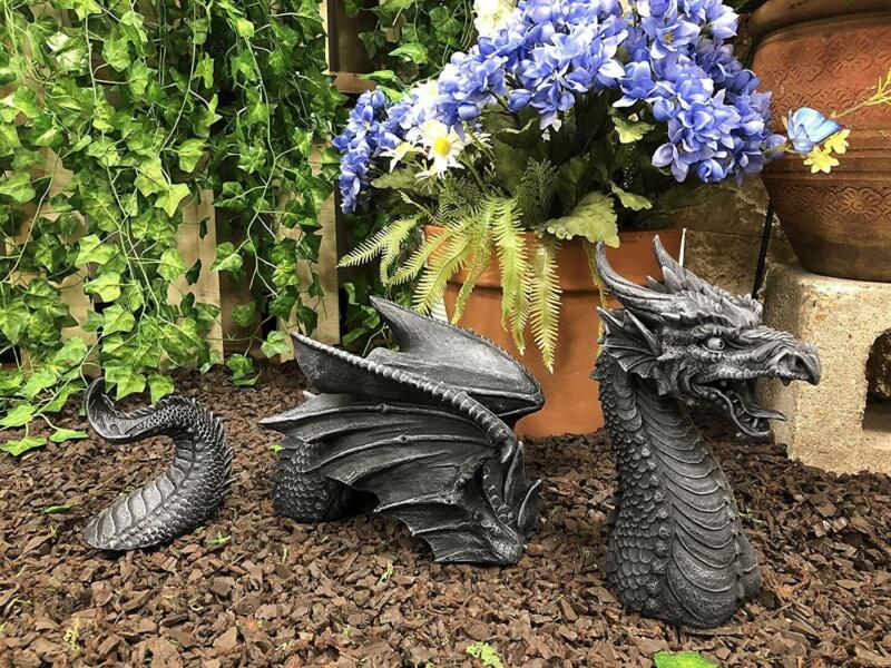 """Swimming Castle Moat Dragon Lawn Garden Centerpiece Statue 3 Piece 21""""L Total"""