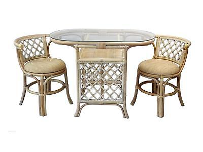 Borneo Handmade Rattan Dining Set, Oval Table with Glass + 2 Chairs. White Wash