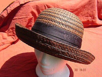 chicer Sommerhut Vintagestyle Strohhut braun Damenhut W