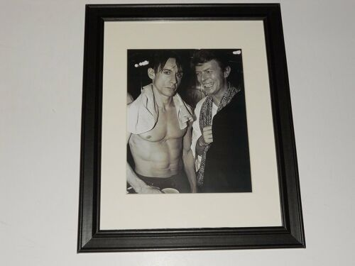"""Framed David Bowie / Iggy Pop 1975 Backstage Photo Print Poster 14"""" by 17"""""""