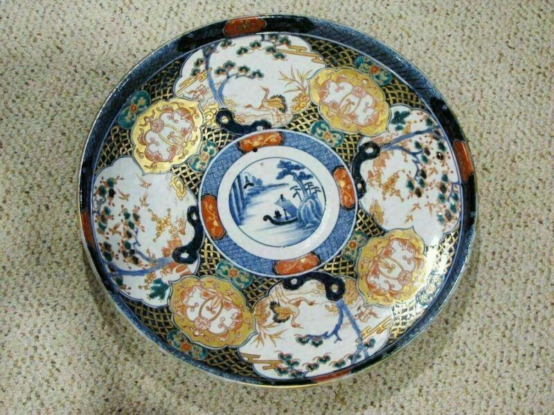 "Antique JAPANESE IMARI 18 1/2"" CHARGER - SIGNED ON BACK"