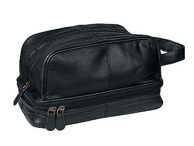 Genuine Leather Dopp Kit Shaving Toiletry Travel Bag for Men Onyx Black
