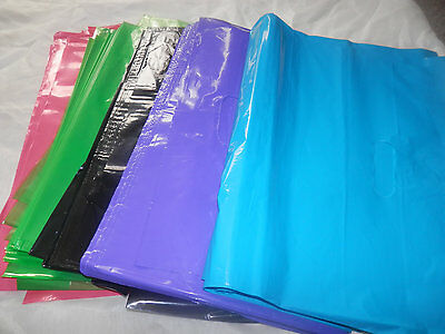 25 Large Hot Pink Black Teal Lime Green And Purple Plastic Merchandise Bag