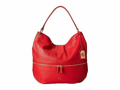 Ralph Lauren Meysey Pebble Leather Hobo in Poppy Red *Non Outlet*