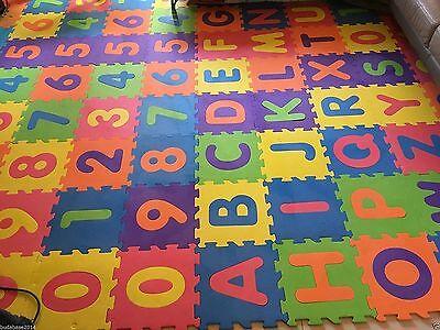 26pcs Soft EVA Large Foam Baby Kids Play Mat Alphabet Number Puzzle 29 x 29cm