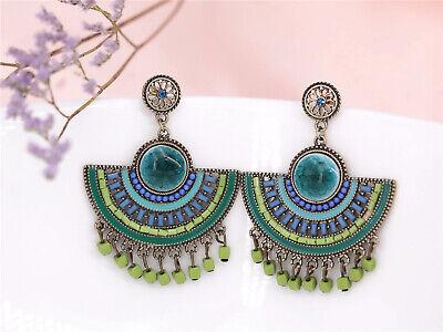 Earrings Clips Ethnic Fan Big Porcelain Tassel Green Pale Blue X14