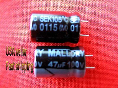 4 Pc - 47uf 100v 105c Mallory Electrolytic Capacitors S Free Shipping