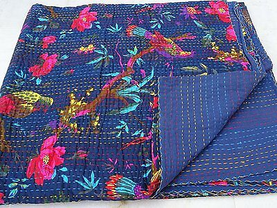 Indian 100%Cotton Kantha Quilt Bird Print Designer Twin Bedspread Ethnic Vintage