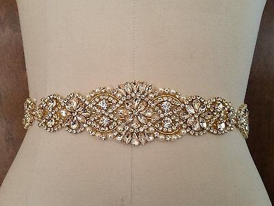 """Wedding Belt, Bridal Sash Belt - GOLD Crystal Pearl Sash Belt = 14 1/2"""" long"""