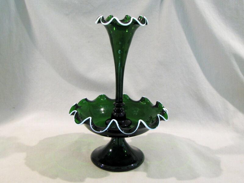 Antique HAND BLOWN DARK GREEN SINGLE EPERGNE