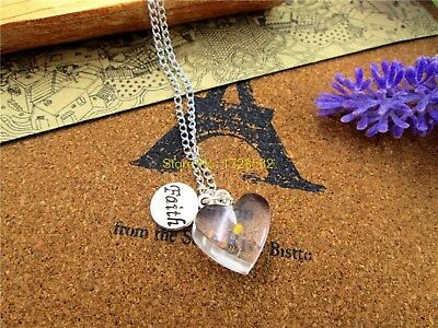 Mustard Seed Necklace (Mustard Seed Necklace Faith Heart Sterling Silver Chain Easter Mothers Day)