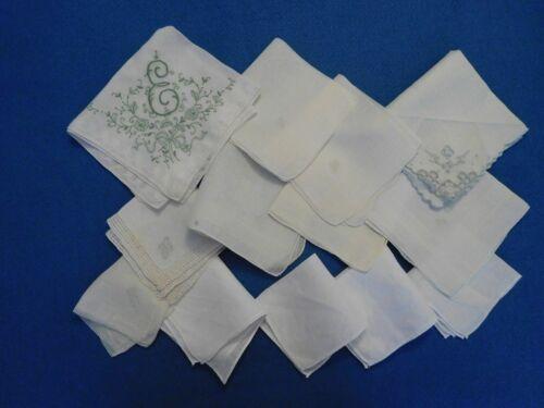 Lot of 13 Hankies Handkerchiefs White Monograms