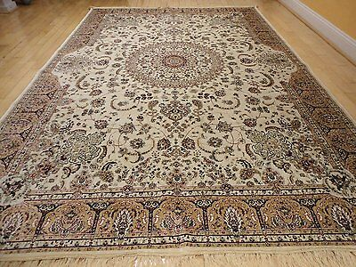 Luxury Traditional Silk Rug Large Area Rugs 10x13 Ivory Silk Rugs 5x8 Carpet (Ivory Traditional Rug)