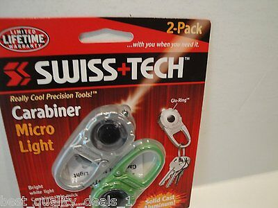 Swiss Tech Carabiner Micro Light -2 Pack-Colors May Vary-Sorry, No Color Choice