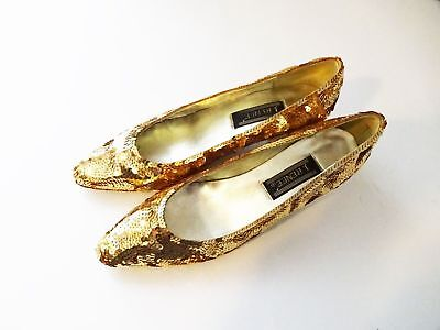 J RENEE Gold Shiny BRAND NEW Sequin Ballet Flats Loafers Womens Shoes Sz 6.5 👟7 for sale  Madison Heights